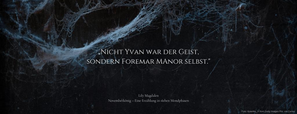 """Zitat aus dem Roman Novemberkönig: """"Nicht Yvan war der Geist, sondern Foremar Manor selbst""""; Lily Magdalen: Novemberkönig – Eine Erzählung in sieben Mondphasen"""